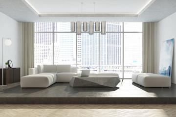 White panoramic living room interior
