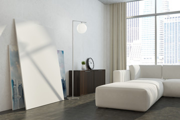 White panoramic living room poster close up