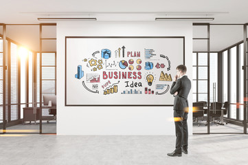 Man looking at business idea poster, office