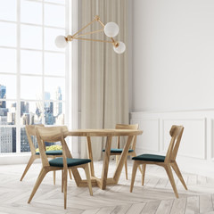 White dining room interior, wooden chairs close up