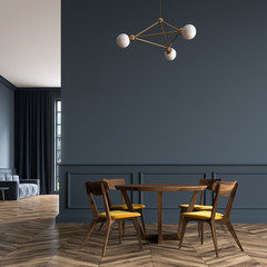Black dining room, wooden chairs