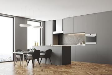 Gray kitchen corner