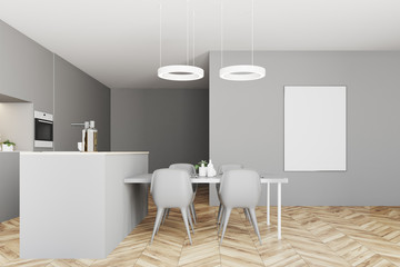 Gray kitchen interior poster