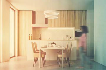 Wooden kitchen interior toned