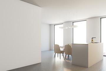 Wooden and white kitchen corner