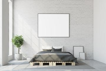 White bedroom, horizontal poster