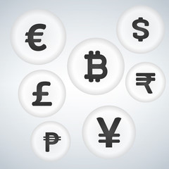 World Currency Sign Vector bubble Button Icon Design Set