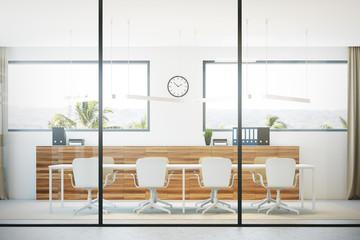 Glass meeting room interior