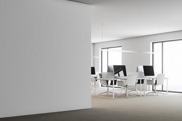 Modern white office corner, wall side