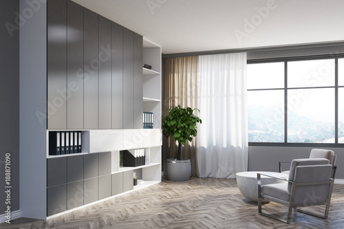 Gray Living Room Corner White Armchairs