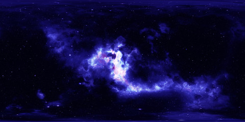 Deep space, stars and nebula. Spherical environment HDRI map, 360 degrees panorama, equirectangular projection