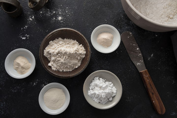 ingredients for making homemade gluten free flour blend