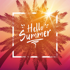 Hello summer background with palm and frame