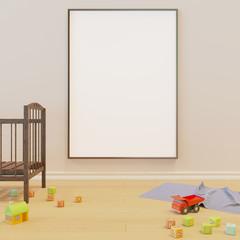 Mock up poster in the children's room. 3D rendering