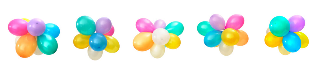 Set multicolored balloons isolated on white