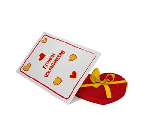 """Valentinskarte mit deutschem Text """"Frohen Valentinstag""""  und einem Herz mit schleife. 3d render"""