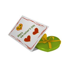Valentinskarte mit lachendem Herz und Text. Dazu ein Plastikherz mit schleife. 3d render