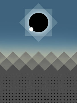 Total Solar Eclipse with Abstract Mountains & Crowd