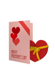 Valentinskarte in verschiedenen rottönen und einem Herz mit schleife. 3d render