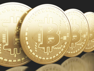 3d Bitcoin coins. Cryptocurrency concept.