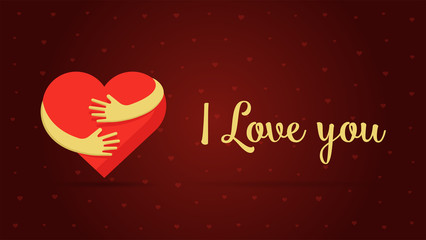 I love you lettering. Hearts on red background. Valentine day greeting card design vector illustration