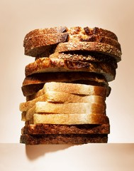 Close up of stack of bread slices