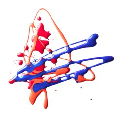 Drizzled blue and red liquid cosmetics on white background