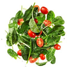 Salad of lettuce and cherry tomatoes on white background