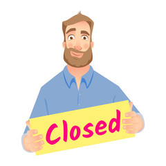 man holding closed sign