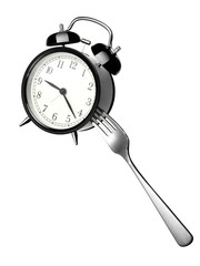 Fork stuck in silver alarm clock on white background