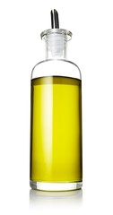 Low angle bottle of olive oil on white background