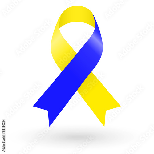 Blue And Yellow Ribbon World Down Syndrome Day Stock Image And