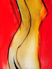 Painting of woman's naked torso with red background