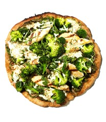 Grilled pizza with broccoli, cheese, chicken and spinach