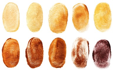 Inked fingerprints against white background