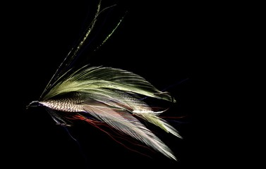 Close up of feathered fishing lure against black background