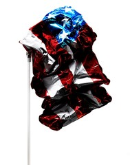 Deflated balloon with American flag pattern against white background