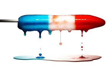 Dripping melted blue, white and red popsicle