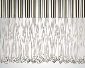 Close-up group of metal wire whisks