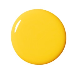 Close-up circle of shiny yellow liquid cosmetics against white background