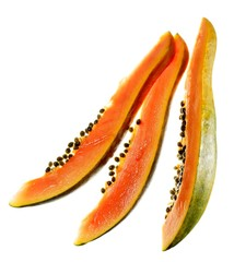 Three papaya slices with seeds against white background