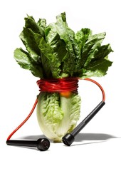 Jump rope wrapped around head of romaine lettuce