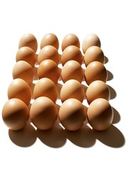 Brown eggs against white background