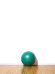 Exercise ball on hardwood floor