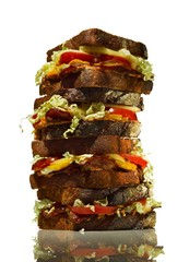 Tall stack of bacon, lettuce and tomato sandwiches
