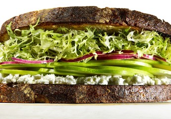Healthy sandwich with frisee lettuce