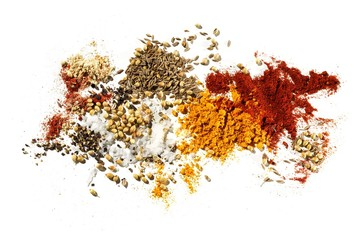 Powdered curry spices with seeds and turmeric