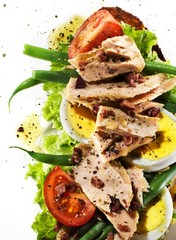 Grilled tuna, hard-boiled eggs, tomato slices, and lettuce on white background
