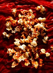 Close-up popcorn with red sauce
