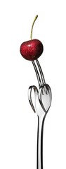 Cherry on fork with two prongs curled down